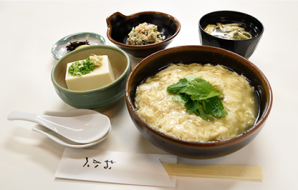 """Nama yuba don teishoku"" Tofu skin on rice set (only 15 served per day) (Tofu skin on rice, chilled tofu, miso soup, small dish, Japanese pickles) 870yen (tax included)"